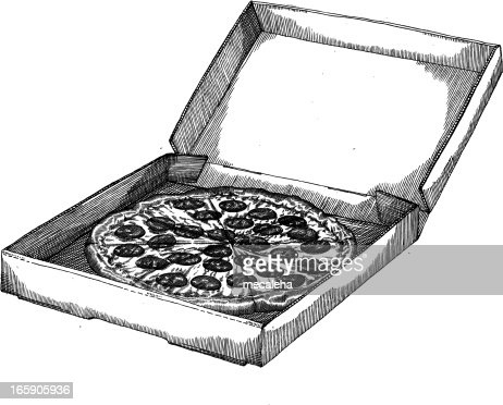 Pizza In The Box Drawing Vector Art | Getty Images