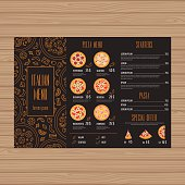 Pizza menu design. Tri-fold leaflet layout template. Restaurant brochure with modern line graphic. Vector illustration.