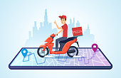 Pizza motorbike delivery. Urban landscape with food courier driving bike fast delivery vector concept. Illustration of motorbike delivery, fast service deliver