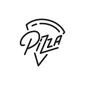 Pizza. Pizza lettering illustration. Pizza label badge emblem.