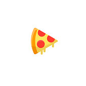 Pizza sticker. Fun cartoon mood. Pizza slice with melted cheese and pepperoni.