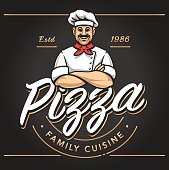 Pizzeria emblem design with smiling chef. Pizzeria vector  template on black background. Vector emblem for cafe, restaurant or food delivery service.