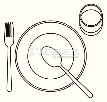 Place Setting With Plate Spoon Fork And Glass Vector Art   Thinkstock
