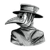 Plague doctor hand drawing vintage engraving isolate on white background