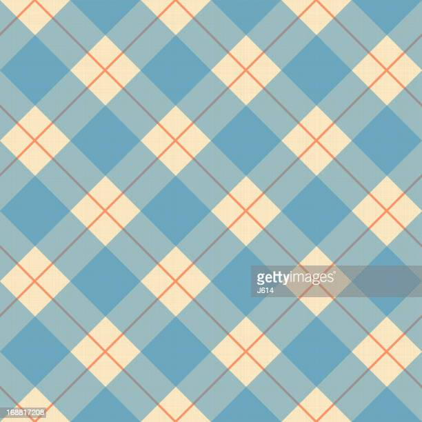 Plaid blue, cream and orange pattern on a textile texture