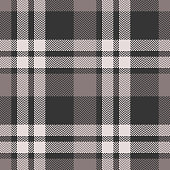 Plaid pattern seamless vector graphic. Tartan check plaid in brown and beige for scarf, poncho, flannel shirt, or other modern clothing fabric design. Herringbone woven pixel texture.