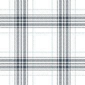 Plaid pattern seamless vector graphic. Tartan check plaid in grey, blue, and white for flannel shirt or other modern fashion textile design. Woven pixel texture.