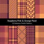 Plaid pattern set in raspberry pink & orange. Seamless tartan check plaid for poncho, scarf, shirt, coat, blanket, or other textile design. Pixel, herringbone, stripes texture. Set of 10 patterns.