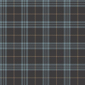 Plaid pattern vector in grey, blue, and brown. Seamless tartan check plaid for flannel shirt, skirt, scarf, poncho, jacket, coat, or other textile design.