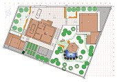 Landscaping project in the planning of a private garden