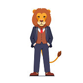Business man with a lion animal head standing confidently with hands in pockets. Successful businessman or rich banker wearing formal suit. Flat style vector illustration isolated on white background