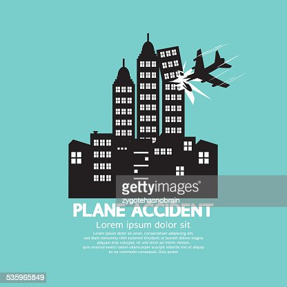 Plane Accident With Skyscrapers Black Graphic : Vector Art