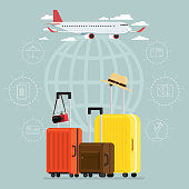 Plane and departures travel sky and travel suitcases, Vector Illustration