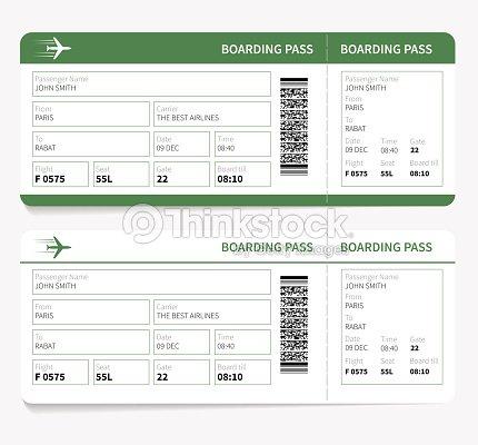 Flugtickets green bordkarte und gatenummer vektorgrafik for Billetes de avion baratos barcelona paris