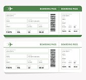 Airline boarding pass. Green ticket isolated on white background. Vector illustration
