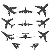 Plane icons. Black plane pictograms on white background. Vector illustration