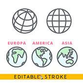 Planet Earth globe icon set. Easy editable stroke line vector.
