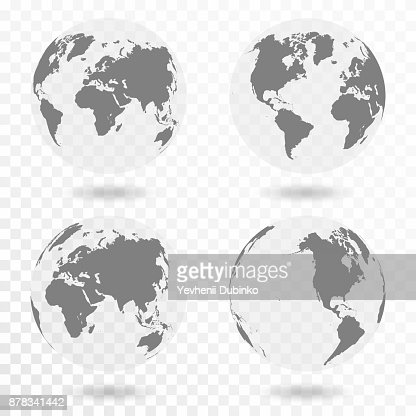 Planet Earth icon set. Earth globe isolated on transparent background : Vector Art