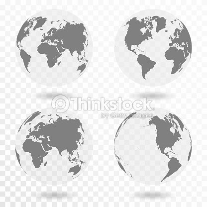 Planet Earth icon set. Earth globe isolated on transparent background : stock vector