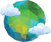 Vector illustration, polygonal planet Earth icon.