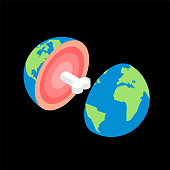Planet earth in cut with bone. structure of planet