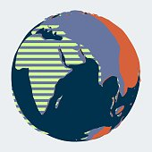 Planet Earth with Indian Ocean, Europe and Africa in abstract contrast style with dark blue water and stripped land