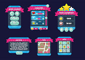 Collection of various buttons, icons, windows and other user interface elements for making 2d adventure games with planet and space theme
