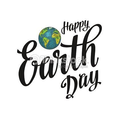 Planeta Letra De Día De La Tierra Feliz Ilustración De Vector Color ...