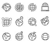 planets icons set. Earth, thin line design. planet in a different interpretation, linear symbols collection. isolated vector illustration.