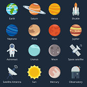 Planets of solar system and different space tools. Icon set in vector style. Illustration of planets and telescope, moon and shuttle