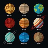 planets solar system with names vector illustration eps 10