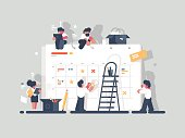 Planning and organization of tasks on board. Group of people make plan. Vector illustration