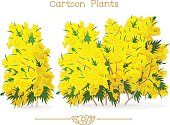 vector illustration collection Cartoon Plants. Spring blooming yellow ulex europaeus, mountain 's gorse, whin. Clipart isolated on transparent background. Hand drawn graphics. Nature design elements