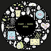 Plant-based food linear concept in circle with thin line icons in pastel colors on black background, template with space for text - vector illustration.
