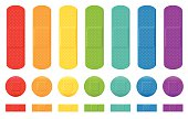 Plaster collection - seven different colors, three various sizes. Isolated vector illustration on white background.