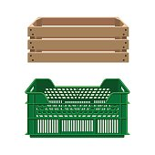 Plastic and wooden crates for fruits and vegetables. Vector illustration
