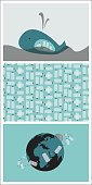 Set of Three Vector Illustrations with Ecological Theme: Plastic Bottles Pollution Issue