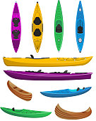 Plastic colorful kayaks with isolated set. Rafting, kayaking, paddling and canoeing outdoor activity. Extreme water sport, relaxation on river or lake, adventure by boat vector illustration.