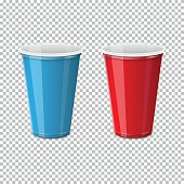 Plastic cup for single use of blue and red on a transparent background. Dishes for liquids consumption. Realistic vector illustration.