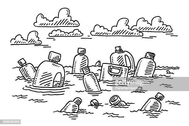 Kunststoff Müll Floating In Ocean Zeichnung