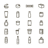 Plastic Packaging Signs Black Thin Line Icon Set Include of Bottle and Container. Vector illustration of Icons