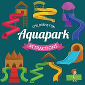 Plastic slides for water park on a white background vector illustration pictograms