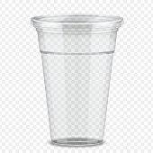 Transparent plastic takeaway cup in 3d illustration