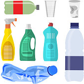 Plastic waste icon collection on white. Plastic bottles and another garbage, non-recyclable trash. Vector illustration in flat style