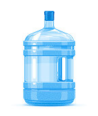 Five gallon big plastic water bottle container with handle quality illustration standing on white background, water delivery service of fresh purified water