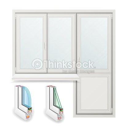 Plastic Window Vector Opened Door Home White Window Design Concept