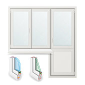 Plastic Window Vector. Opened Door. Home White Window Design Concept. Isolated