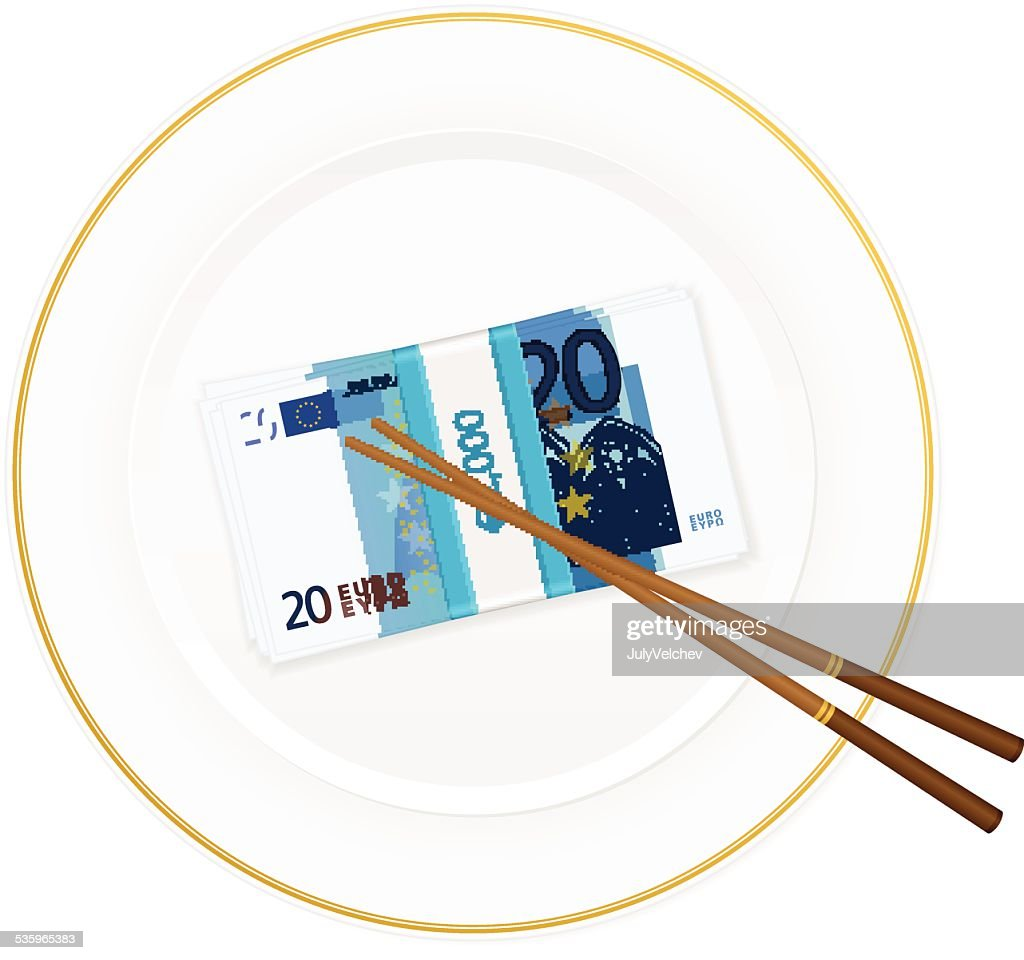 plate chopsticks and twenty euro pack : Vector Art