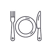 Plate, fork and knife line icon concept. Plate, fork and knife vector linear illustration, sign, symbol