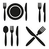 Plate, fork, spoon and knife icons on white background. Vector illustration